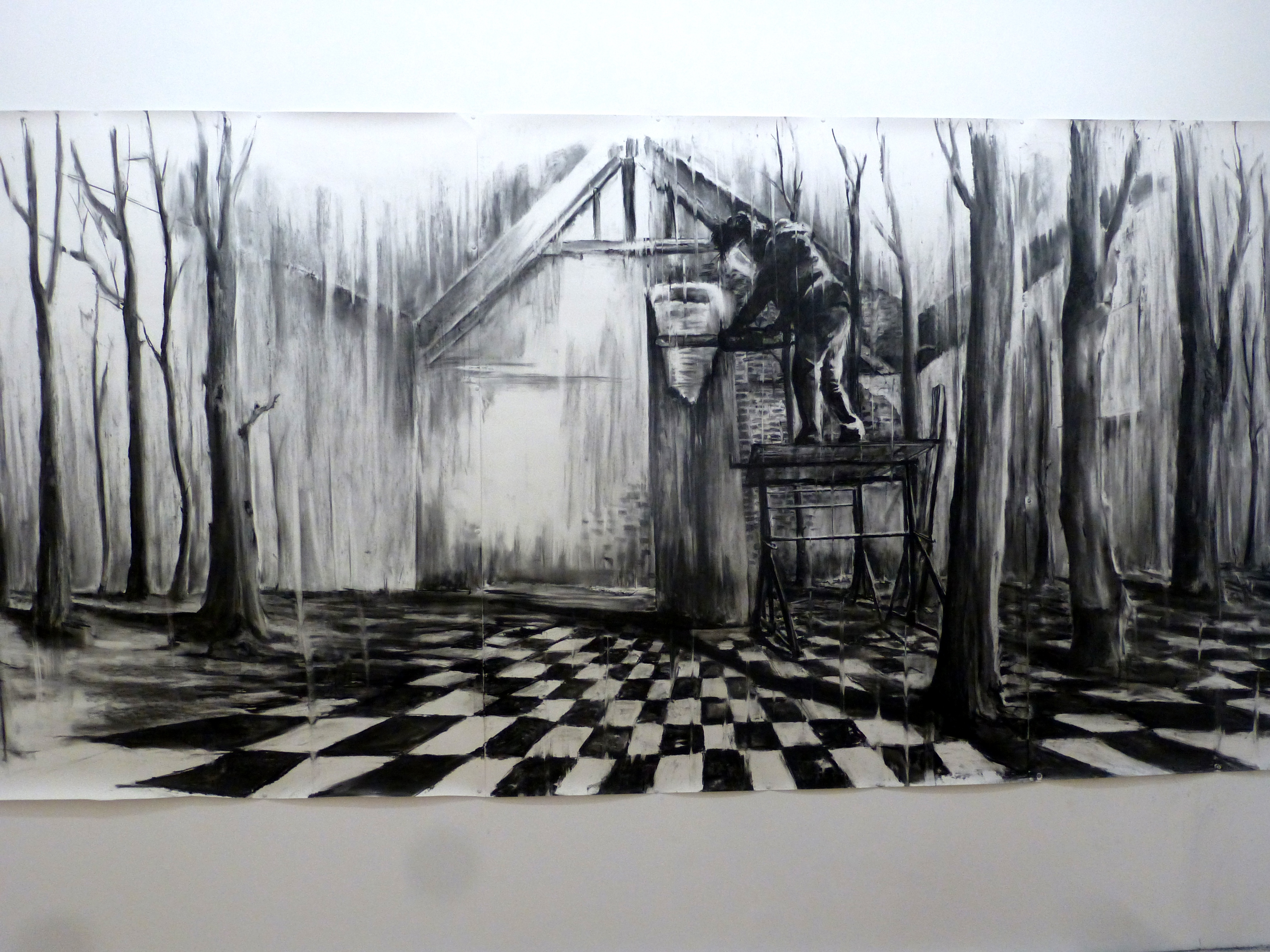 'forrest studio' (charcoal on paper 380cm x 150 cm)