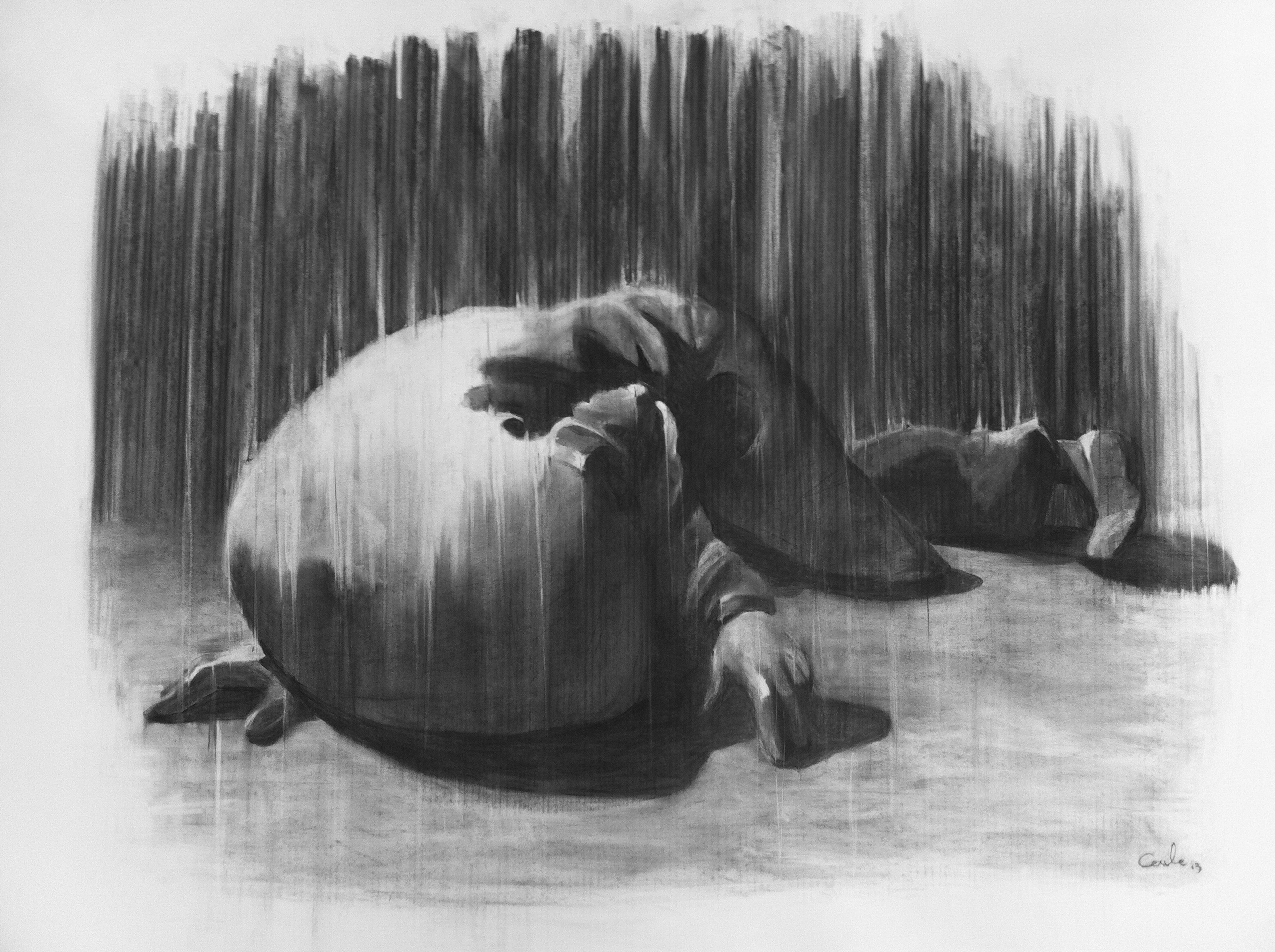'the lying' charcoal on paper 150cm x  110cm)